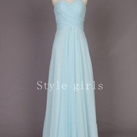 Simple light blue Chiffon Long prom dress