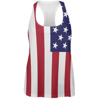 4th of July American Flag All Over Womens Work Out Tank Top