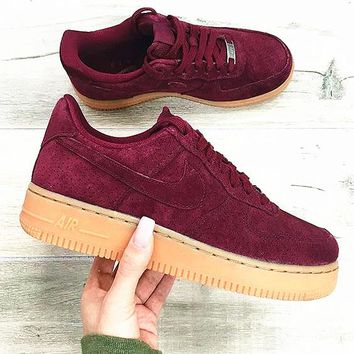 """""""NIKE""""AIR Running Sport Casual Shoes Sneakers wine red -khaki soles H-AA-SDDSL-KHZHXMKH"""