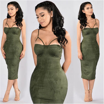 2016 HOT Fashion Autumn Dress Suede Bustier Dress Spaghetti Straps Sexy Solid Velvet winter bodycon dresses Chest pad plus size
