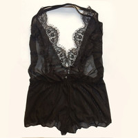 Sexy Sheer Lace Open Back Teddy Lingerie