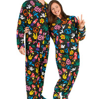 Adult Footed Pajamas Drop Seat Peace Sign Fleece