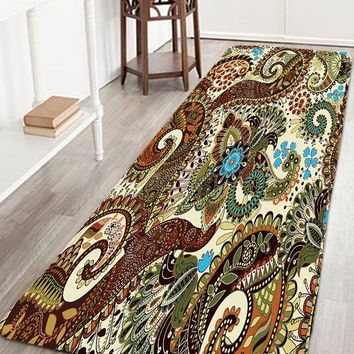 Bohemian Flower Flannel Bathroom Antiskid Rug