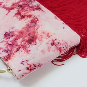 Kaleidoscope Pink and Red Fringe Purse