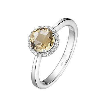 Lafonn Birthstone Sterling Silver Platinum Plated Lassire NOVEMBER Ring (Appx: 1.05 cttw Citrine Appx 0.85 cttw)