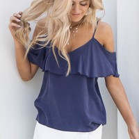 CHASER Silk Cold Shoulder Ruffle Top