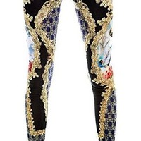 Black Navy Gold Deco Geo Unique Print Elastic Waist Ankle Leggings Trendy