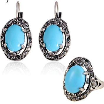 Turkish Ethnic Blue Oval Silver Plated Clip Drop Earring Turquoise Sets