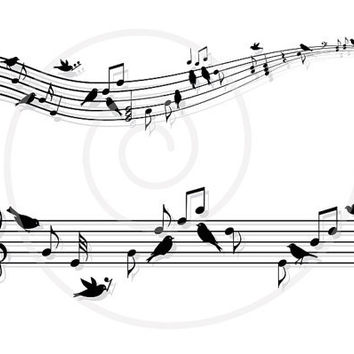 Musical notes with birds, music sheet, animal, digital art illustration, clipart, drawing, digital print, printable, download