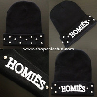 Studded Homiēs Beanie Hat - Black w/ White Embroidery - Silver or Gold Circular Studs