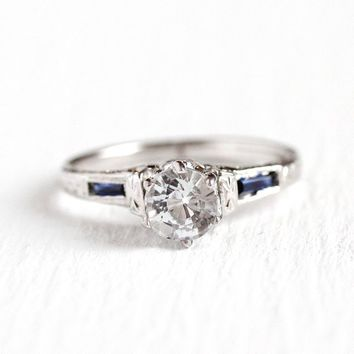 White Sapphire Ring - 18k White Gold Engagement - Vintage Size 3 1/2 Colorless .71 ct Gemstone and Created Blue Sapphire Fine Jewelry