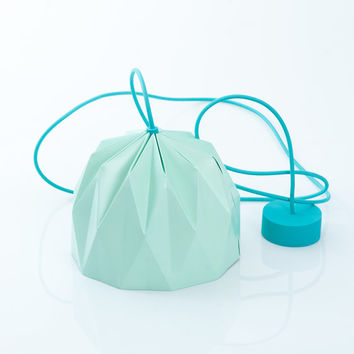 Small Origami Lamp, Aqua colored hanging lampshade, paper designed lampshade