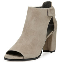 Stuart Weitzman Open-Door Suede Sandal, Light Gray