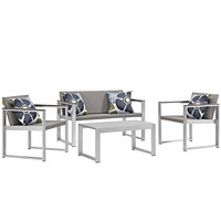 Triumph Outdoor Patio Aluminum Patio Sectional Set with Pillow Set