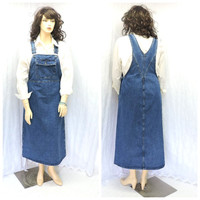 Vintage 80s denim overall jumper maxi dress L bib over all jean long jumper 1980s CrossRoads USA denim maxi dress large SunnyBohoVintage