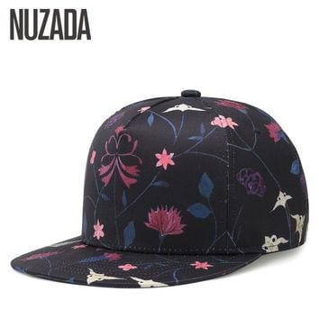 Brand NUZADA Spring Summer Fashion Style Men Women Baseball Cap Bone Cotton Hats Thermal Transfer Snapback Small Flowers Caps