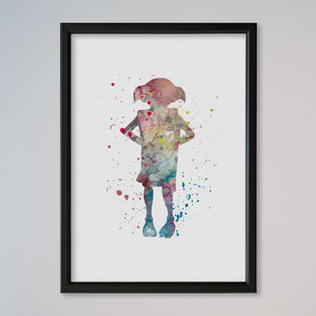 Harry Potter Poster FRAMED Poster Dobby Art Print Watercolor Print poster