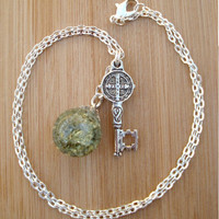 Medieval Key Olive Green Crackle Glass Marble Necklace