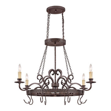 Jeremiah by Craftmade 23634-BA Brookshire Manor Burnished Armor Four Light Pot Rack with Hooks