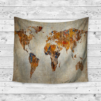 Graffiti World Map Boho Wanderlust Unique Dorm Home Decor Gypsy Travel Wall Art Tapestry