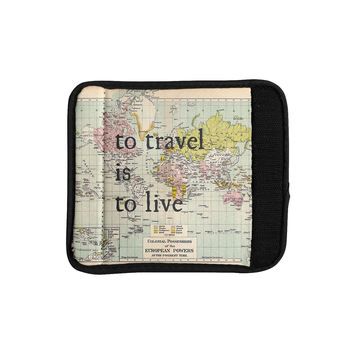 "Catherine Holcombe ""To Travel Is To Live"" Color Map Luggage Handle Wrap"