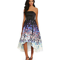 Betsy & Adam Floral-Printed Hi-Low Satin Dress | Dillards.com
