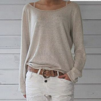 Light Gray Long Sleeve Knit Shirt