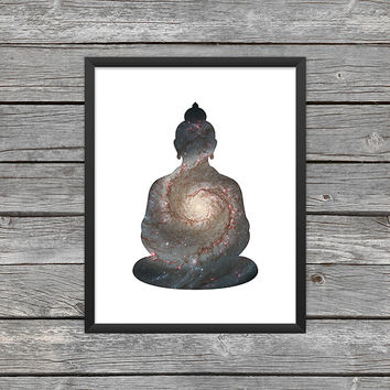 Buddha Poster Buddha Print Buddha Silhouette Buddha Art Buddha Outline Yoga Meditation Space Art Galaxy Art Nebula Art Instant Download