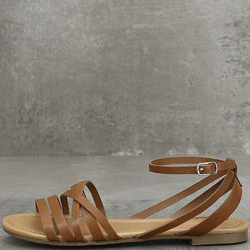 Zoila Tan Ankle Strap Flat Sandals