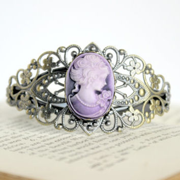Antique Gold and Matte Purple Lady Cameo Cuff Bracelet - Neo-Victorian Inspired Jewelry - Downton Abbey Gift Idea - Ready to Ship