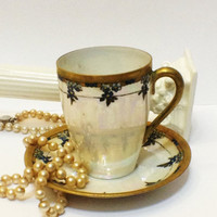 ON SALE Antique Weimar Chocolate, Demitasse Cup, Opalescent, Hand Painted, Signed, 1905-1924