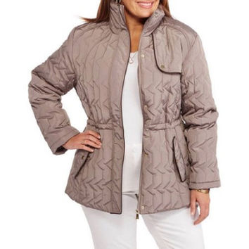 Women's Midweight Jacket with Flattering Side Cinching, Taupe, 3X