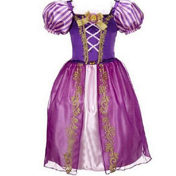 2016 High Quality Baby Girls Cinderella Dresses Children Cartoon Princess Dresses Rapunzel Aurora Kids Party Costume Clothes 09A