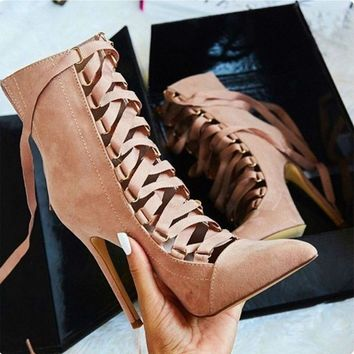 Stiletto Shoes High Heel Ankle Booties Sandals Hollow Out  Lace Up