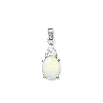 Sterling Silver Australian Opal and White Topaz Pendant