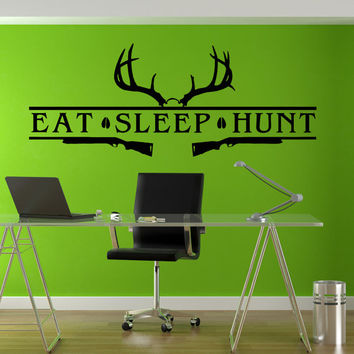 Eat Sleep Hunt Hunting Bow Rifle Deer Buck Elk Turkey Rack whitetail Mule Deer Rocky Forest Wall Art Wall Decals Wall Stickers tr172