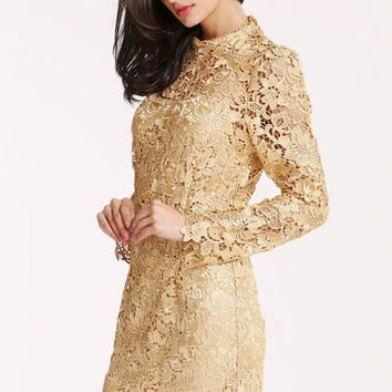 Champagne Long Sleeve Crochet Lace Dress