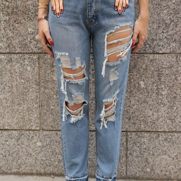 HAND PAINTED 'HANDS' DESTROYED DENIM