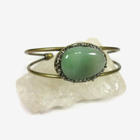 Green Aventurine and Pyrite Antique Brass Cuff Bracelet/Modern Boho Gemstone Cuff/Green/Brass