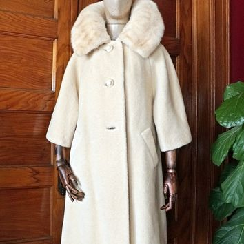 Vintage 1960s Lilli Ann Cream Mink + Wool Swing Coat