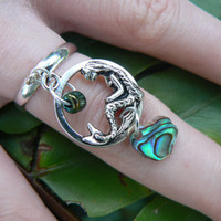 mermaid charm ring abalone mermaid siren pendant in boho gypsy hippie hipster beach resort and fantasy style