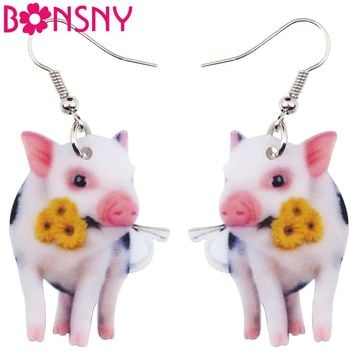 Bonsny Acrylic Flower Pink Pig Piggy Earrings Big Long Dangle Drop Cute Animal Jewelry For Girls Women Ladies Teens Accessories