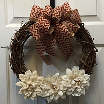 Year Round Wreath, Everyday Wreath, Burlap Grapevine Wreath, Burlap Flowers, Red Burlap Bow,Front Door Decor