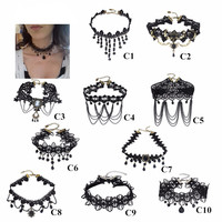 Crystal Black Lace Neck Choker