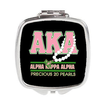 Alpha Kappa Alpha 20 Pearls Pocket Mirror or Compact Mirror