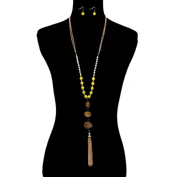 Stone and Yellow Bead Long Tassel Necklace