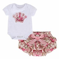 Flower Print Princess Princess Embroidered Onesuit and Ruffled Bloomers