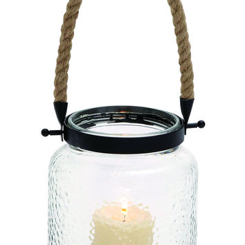 Vintage Canning Jar Glass And Rope Candle Lantern