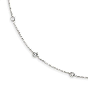 Sterling Silver CZ Extension Necklace QG2092