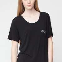 QUINN DON'T GO TOO FAR STAY WHO YOU ARE EMBROIDERY TOP